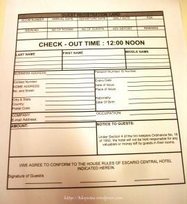 escario central hotel information sheet