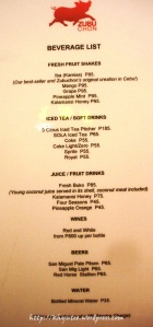 zubuchon beverages menu price list