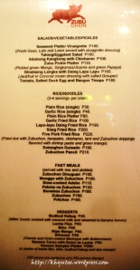 zubuchon salad rice dessert menu price list