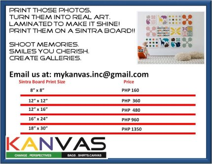 Kanvas pricing sintra board
