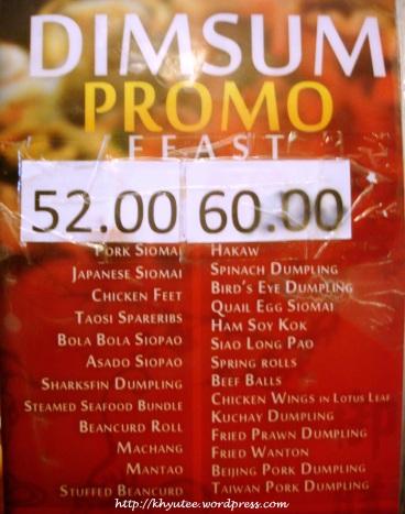 King Chef Dimsum Promo Discounted Price Menu