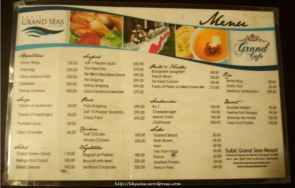 Subic Grand Seas Resort Menu