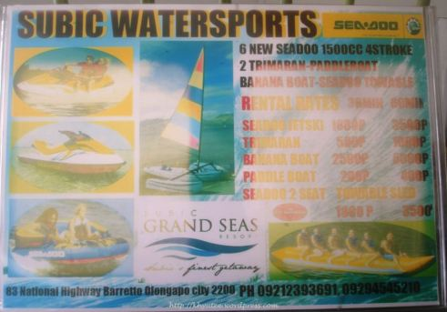 Subic Grand Seas Resort Watersports Activities Rates