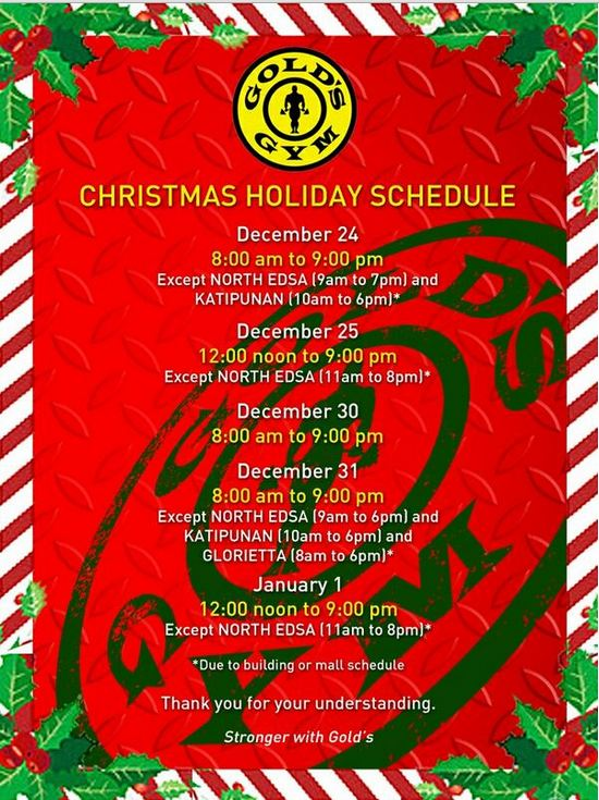 Gold's Gym Christmas Holiday Schedule