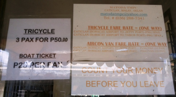 Boracay Tricycle and Boat Fare Rate
